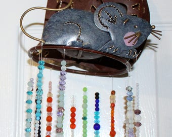 Beaded Cat & Mouse Sun Catcher, Wind Chime