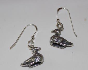 Sterling Silver 3D DUCK Earrings - bIRD