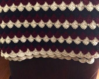 Crocheted afghan - cream, navy & burgandy