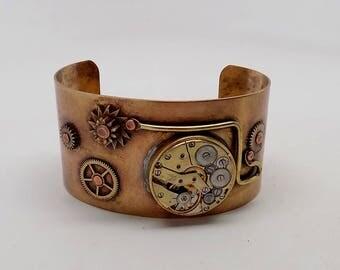 Steampunk  cuff bracelet.Brass bracelet.
