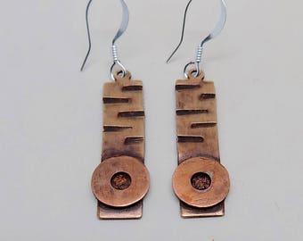 Steampunk mixed metal jewelry earrings.Steampunk jewelry.