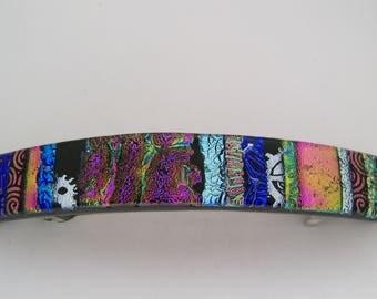 Large dichroic glass hair clip