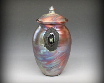Raku Urn or Lidded Vase with Dichroic Glass in Metallic Iridescent Colors