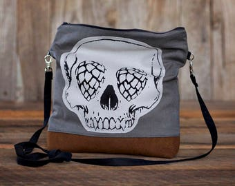 Skull with Hops for eyes slouchy bag with faux leather