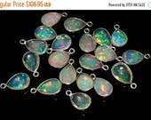 50% Off Sale 4 Pcs 925 Sterling Silver Bezel Set AAA Natural Multi Color Play Ethiopian Welo Fire Opal Faceted Pear Cut Charms 13x7.5 - 14x7