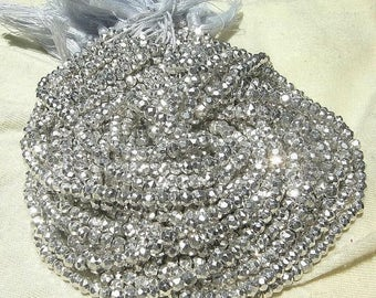 Sale 45% off 14 Inches - 10 Strands Super Finest Mystic Silver Pyrite Micro Faceted Rondelles Size 3.5mm Approx