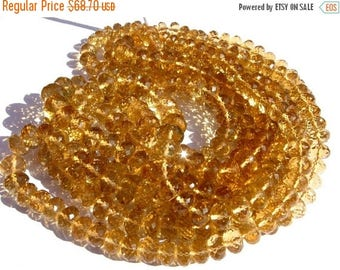Sale 45% off 1/2 Strand 8 Inches - Finest Quality Genuine AAA Honey Quartz Micro Faceted Rondelles Large Size 6.5 - 9mm approx
