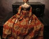 Reserved - OOAK Grodnertal, Regency Doll - Primitive Folk Art