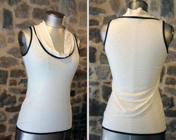 TShirt tank top women basic white-ecru-ivory black .Panel Top sleeveless Cotton Jersey.