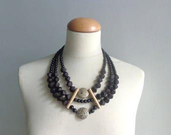 Statement black necklace, black gold necklace
