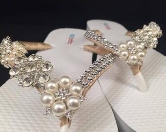 Jordan Bridal Flip Flops, Custom Flip Flops, Rhinestone Dancing Shoes, Pearl Bling Bridal Sandals, Wedding Flip Flops, Beach Wedding, Shoes
