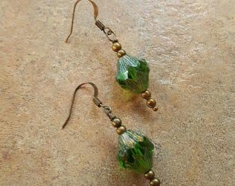 Grass green glass drop earrings handmade