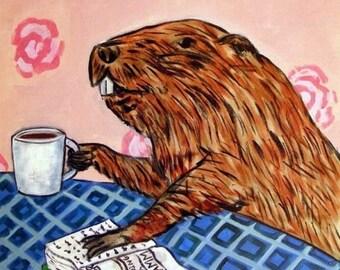 20 % off storewide Beaver, beaver print, beaver art, ceramic coaster, tile, modern folk art, coffee, cafe decor, modern folk, beaver gift, c