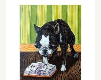 20% off Boston Terrier Reading Dog Art Print