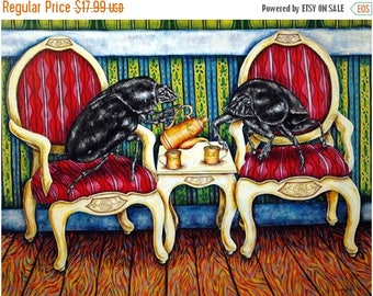20% off DUng Beetle Tea Time Insect  Animal Art Print