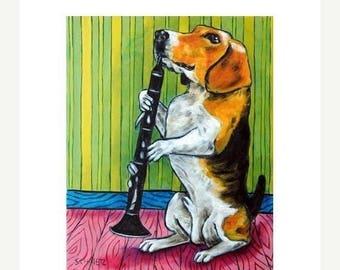20% off Beagle Playing the Clarinet Dog Art Print
