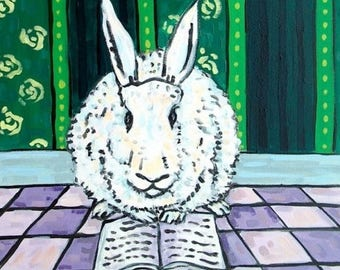 20% off Bunny Rabbit Reading Animal Art Tile Coaster Gift