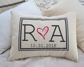 Personalized Pillow, fiance gift for her, gift for him,  Second cotton anniversary, valentine gift, engaged gift, dating anniversary