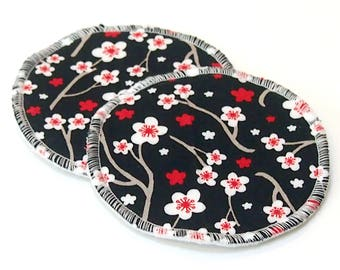 "Large 5"" Reusable Cloth Nursing Pad Set in Bamboo/Organic Cotton with poly fleece - quilter's cotton top - Apple Blossom"