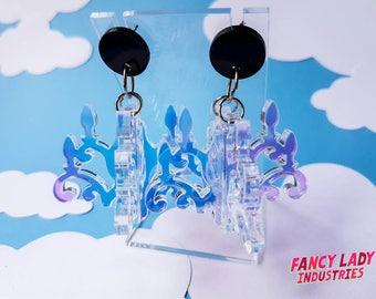 Iridescent Chandelier Earrings, Chandelearrings, 3D Chandelier, Dangle Earrings