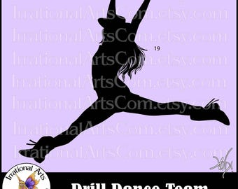 Drill Dance Team Silhouettes Pose 19 - 1 EPS & SVG Vinyl Ready files and 1 PNG digital file and commercial license [Instant Download]