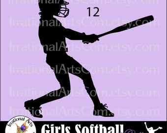 Softball Girls pose 12 Batter Silhouette  - Vinyl Ready Images digital clipart graphics 1 EPS, 1 SVG & 1 PNG and Small Commercial License