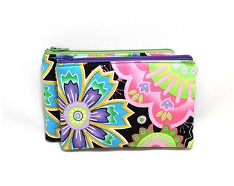 Cosmetic Case, Cord Case, Bridesmaid Gifts, All-Purpose Zipper Case, Bloom Crazy Big Bright Floral on Black 9048 9049