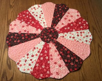 Quilted Valentine's Table Topper,  Valentine's Day Table Runner, Quilted Table Topper, Dresden Plate Table Topper