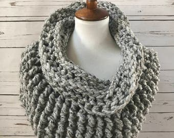 Wool Cowl Scarf : chunky knit | shrug | infinity scarf | handmade | style #1034 | Gray Marble