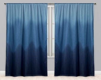 Ombre Faux Blue Jean Wave Print Fabric Window Curtains