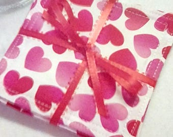 Mug Rug Set of 4, VALENTINE HEARTS, Fabric Coasters, Handmade, Hostess Gift, FREE Shipping in USa