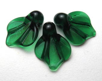 Lampwork Glass Bead Supplies, Dark Emerald Green Leaves, sra lamp glass leaf beads