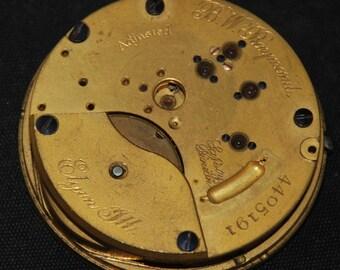Gorgeous Vintage Antique Elgin Watch Pocket Watch Movement Porcelain face Steampunk QR 14