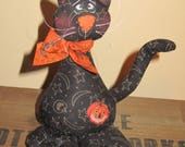 Primitive HC Hand painted Halloween Standing Black Kitty Cat Doll Ornie Tuck