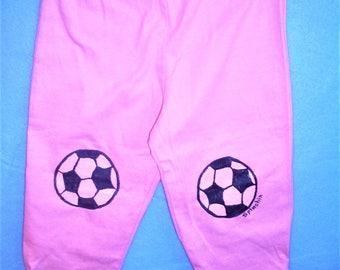 Baby Soccer Ball Pants, Pink Soccer Baby Pants, Baby Girl Soccer Pants, Pink Soccer