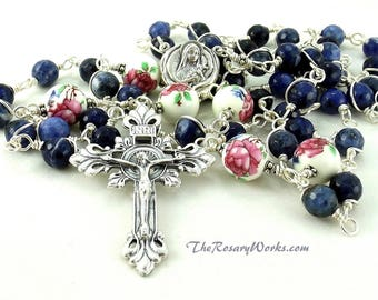St Therese Rosary Beads Relic Little Flower Pink Roses Blue Denim Lapis Traditional Catholic Wire Wrapped Unbreakable Prayer Beads