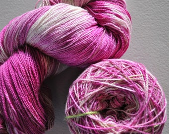 Orchid.  Handpainted 8/2 Fine Cotton Yarn- Centre-pull ball