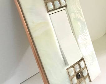 Light Switch Cover, White Glass Switchplate, Iridescent Stained Glass, Outlet Cover, Dimmer Switch Cover, Decorative Switch Plate, 8888
