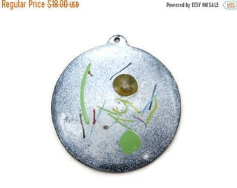 OnSale Mid Century Enamel Pendant - Large White Green Abstract