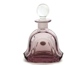 Purple Crystal Glass Perfume Bottle - Round Stopper