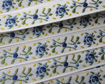 3 Yards Fabric Trim Jacquard Ribbon Blue Floral  RV 86