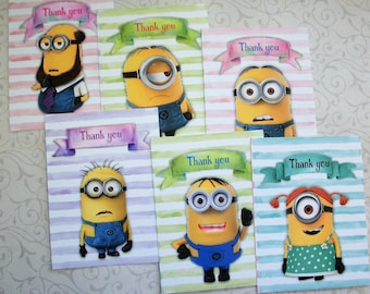 MINIONS - Tags - Stripes, Pastels, Your choice of Thank you Gift Tags or Thank you notecards - Whimsical - MDM 1234