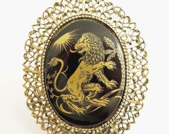 Victorian Revival Lion Brooch Gold Transferware On Black Glass