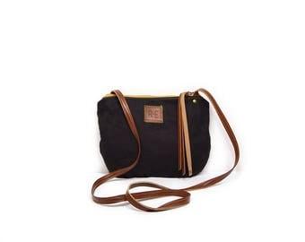 date purse  • black waxed canvas crossbody bag • black waxed canvas canvas - gifts under 50 - simple cross body bag - boho