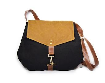 satchel • black and brown crossbody bag • black canvas - bourbon brown waxed canvas - cross body - neutral - simple cross body bag