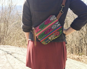 festival pack • fanny pack - sling bag - bum bag • neon - geometric print - guatemalan textile - waxed canvas • festival fashion