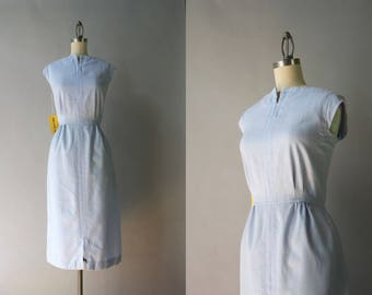 Reserved . . . Vintage Victor Costa Dress / 1970s Pale Blue linen Dress / 70s Deadstock Nos Victor Costa Sleeveless Dress M medium