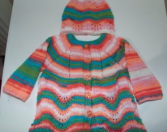 Christmas In July Handknitted Girls Cardigan And Hat for 9-12 month Old.
