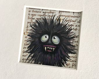 """NEW MINIATURE! """"Jimmy Snapword"""", original miniature mixed media 2"""" x 2"""" matted to 6x6"""" monster, sharp canines, black crazy hair, silly"""