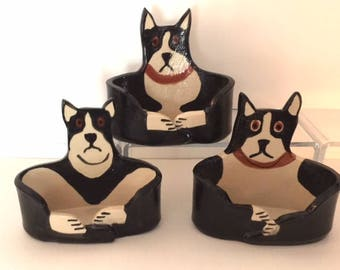 handmade by artist: Dog Lover Business card Holder Made To Order ceramic hound dog whimsical canine office theme decor